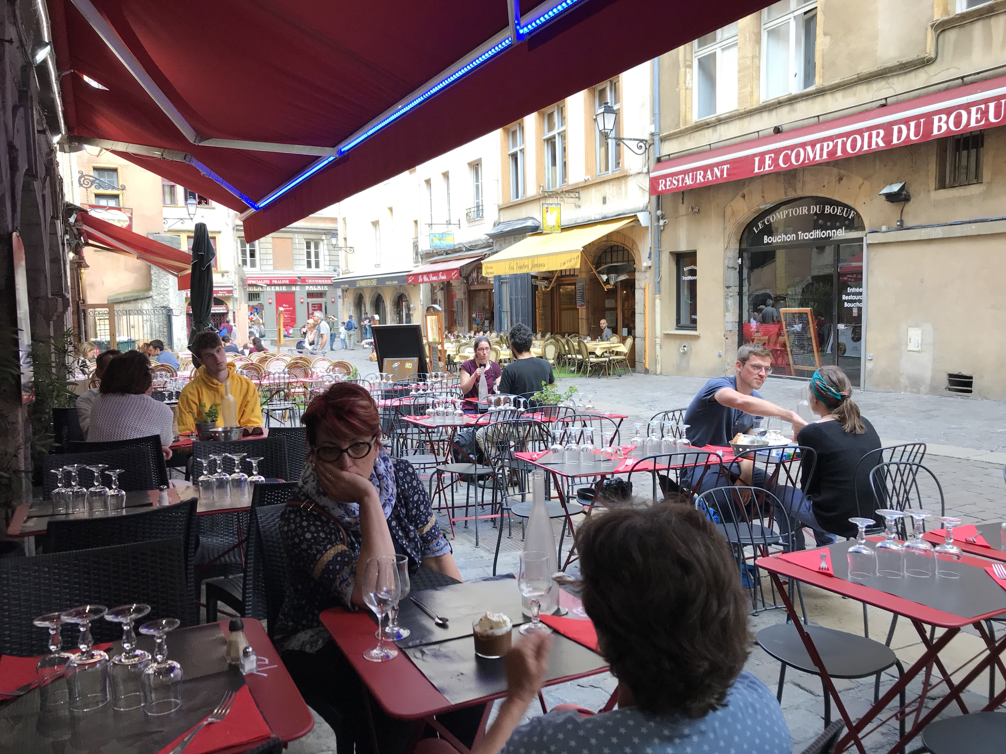 View of the street from our restaurant in the city quarter of Lyon